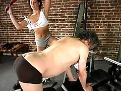 Kym Wilde uses Jamie Gillis as a workout  toy.