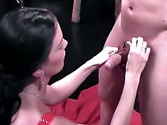 Hung stud is humiliated and manhandled by a bitch�s strong feet