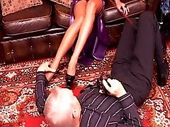 Tall asian domina trains mature male slave and allows him to worship her feet and heels