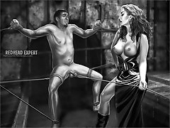Kinky dominatrix bitches make their male slaves suffer through a series of extremely painful ballbusting punishments